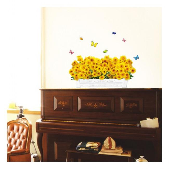 muurstickers slaapkamer Gele Bloemen