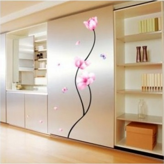 muurstickers slaapkamer roze bloemen