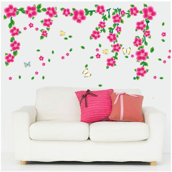muurstickers bloemen roze bloemen & vlinders