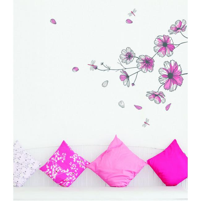 muurstickers bloemen roze bloemen