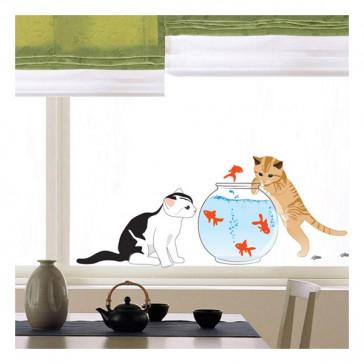 muurstickers dieren Katten & Goudvissen