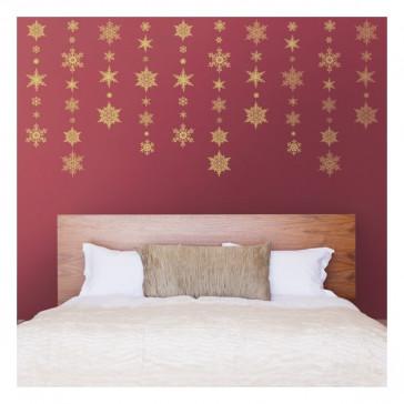 kerst muurstickers Gouden Sneeuw