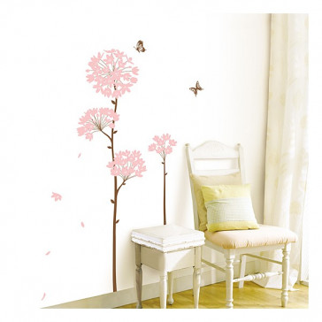 muurstickers bloemen bloem & vlinder