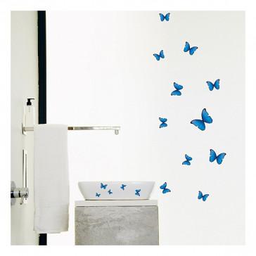 muurstickers slaapkamer blauwe vlinders