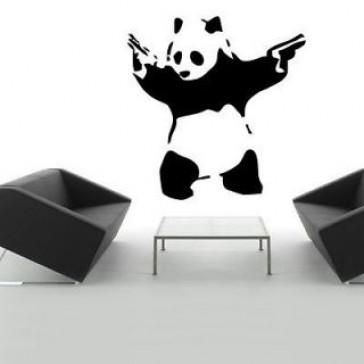 banksy muurstickers schietende panda
