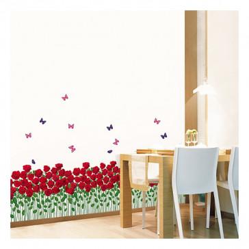 bloemen muurstickers Rozentuin