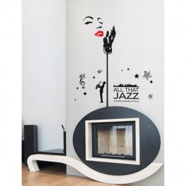 muurstickers muziek jazz artiest