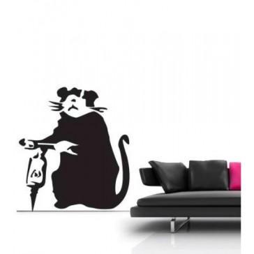 banksy muurstickers drilling rat