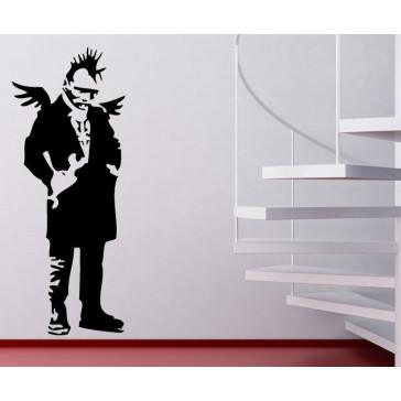 banksy muurstickers punk & engelenvleugels