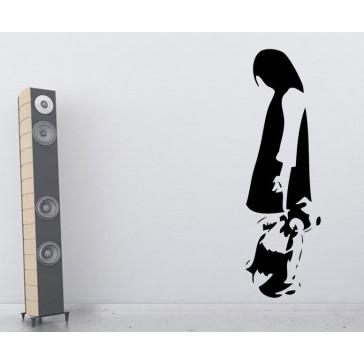 Banksy muurstickers meisje & teddy beer