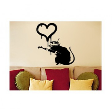 banksy muurstickers love rat