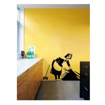 banksy muurstickers maid
