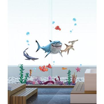 muurstickers kinderkamer finding nemo en haai