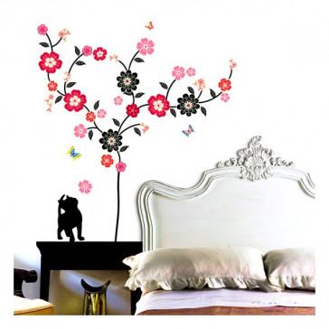muurstickers bloemen kat & bloemen