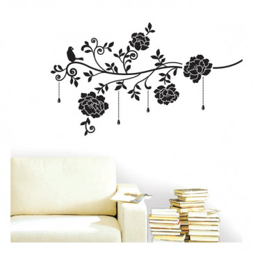 design muurstickers bloemen & juwelen fluweel