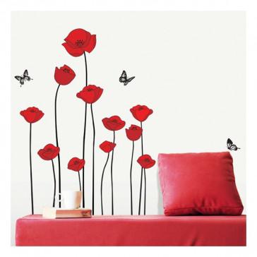 muurstickers slaapkamer Rode Klaprozen