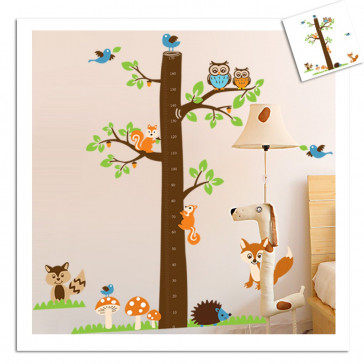 muursticker boom lengte meter met bosdieren