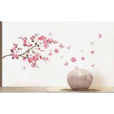 muurstickers bloemen roze bloemen tak