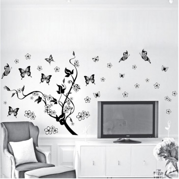 muursticker boom boom met vlinders