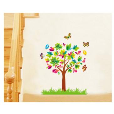 muursticker boom kleurrijke boom met vlinders