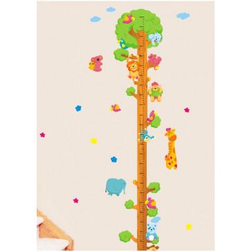 muurstickers kinderkamer lengtemeter boom met dieren