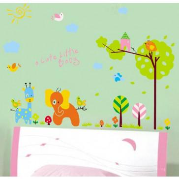 muurstickers babykamer olifantje & giraffe