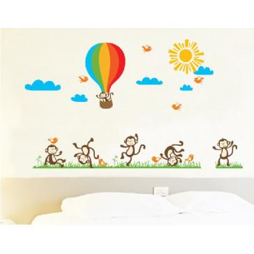 muurstickers babykamer aapjes & luchtballon