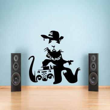 Muursticker Banksy - Rappende Rat