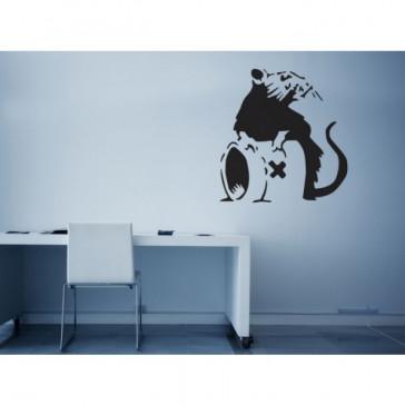 banksy muurstickers rat