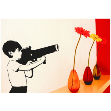banksy muurstickers boy with bazooka