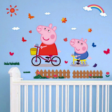 Muursticker Peppa Big met George
