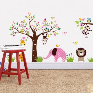 Muursticker kleurrijke bomen en dieren