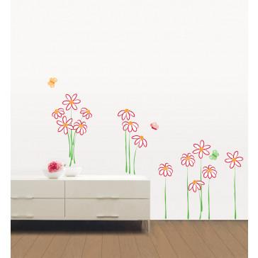 muurstickers bloemen krijtbloemen