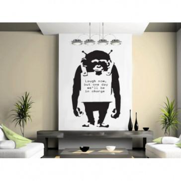 banksy muurstickers monkey