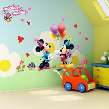 Muursticker Mickey en Minnie Mouse Feest