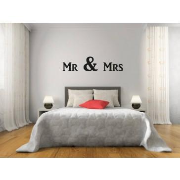 Tekst Muursticker Mr & Mrs