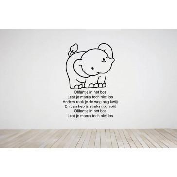 Muursticker olifant teksten