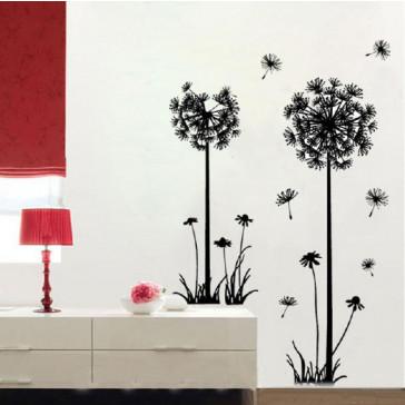 Muursticker Paardenbloemen Zwart