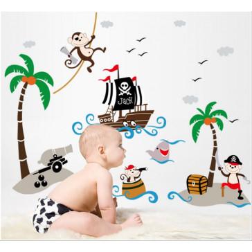 Muursticker Piraten Aapjes