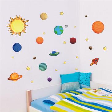 Muursticker Sterrenstelsel, zon, planeten