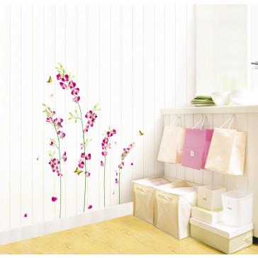 muurstickers bloemen paarse bloemen