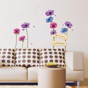 muurstickers bloemen bloemen & gedicht