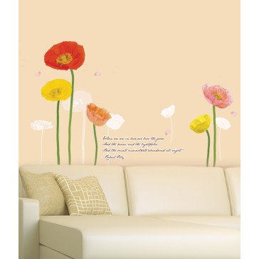 muurstickers bloemen klaproos