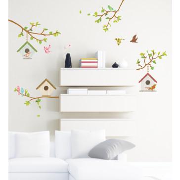 muurstickers slaapkamer vogelhuisjes