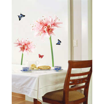 muurstickers bloemen coraalkleurige bloem