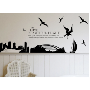 "Muursticker ""The love beautiful fligth"""