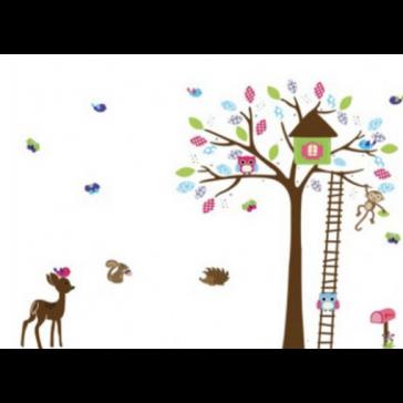 Muursticker Boom met Vogelhuis