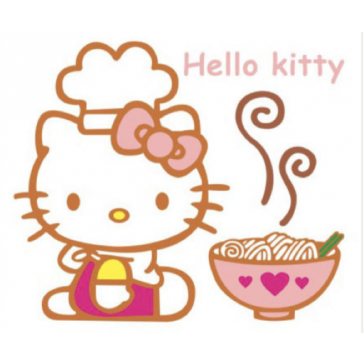 Muursticker Hello kitty met Noodles