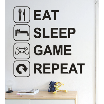 Eat Sleep Game Repeat Muursticker
