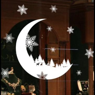 Raamsticker Maan Kerst